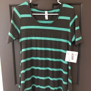 LuLaRoe Perfect Tee - Charcoal with Mint Stripes